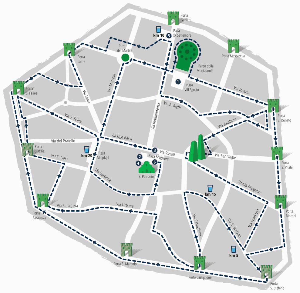 La mezza maratona di Bologna percorso